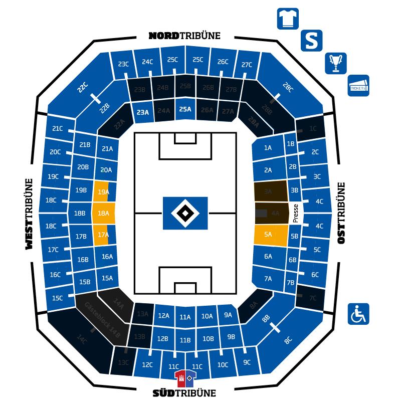 Der Stadionplan des HSV Stadions.